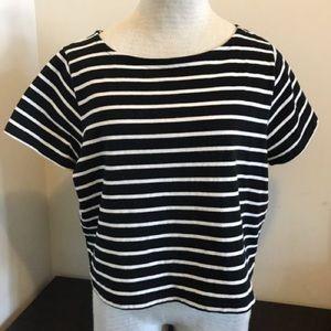 Madewell boxy setlist t-shirt, size XS, b+w stripe